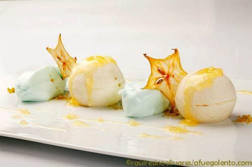 Receta: Esferas de chocolate blanco y yuzu con nubes de wasabi