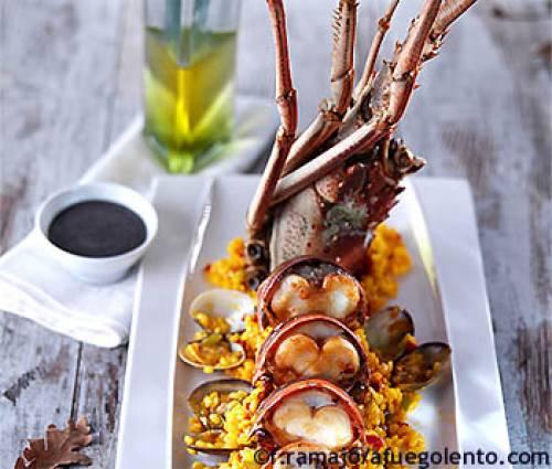 Arroz con langosta y almejas   Arroz, pasta y cereales Mariscos Moluscos