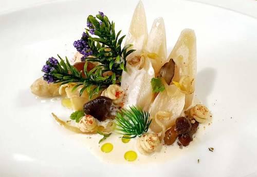 Espárragos con Ragú de Verdura, Hummus y Setas Silvestres | Entrantes | Legumbres | Hortalizas | Hongos