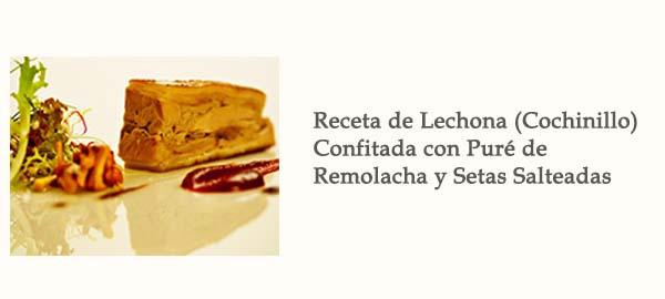 Receta Lechona Confitada Pure Remolacha Setas Afuegolento