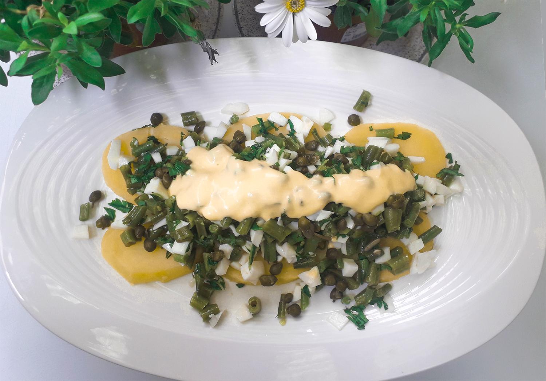 Receta Ensalada Judías Verdes Patata Huevo Afuegolento