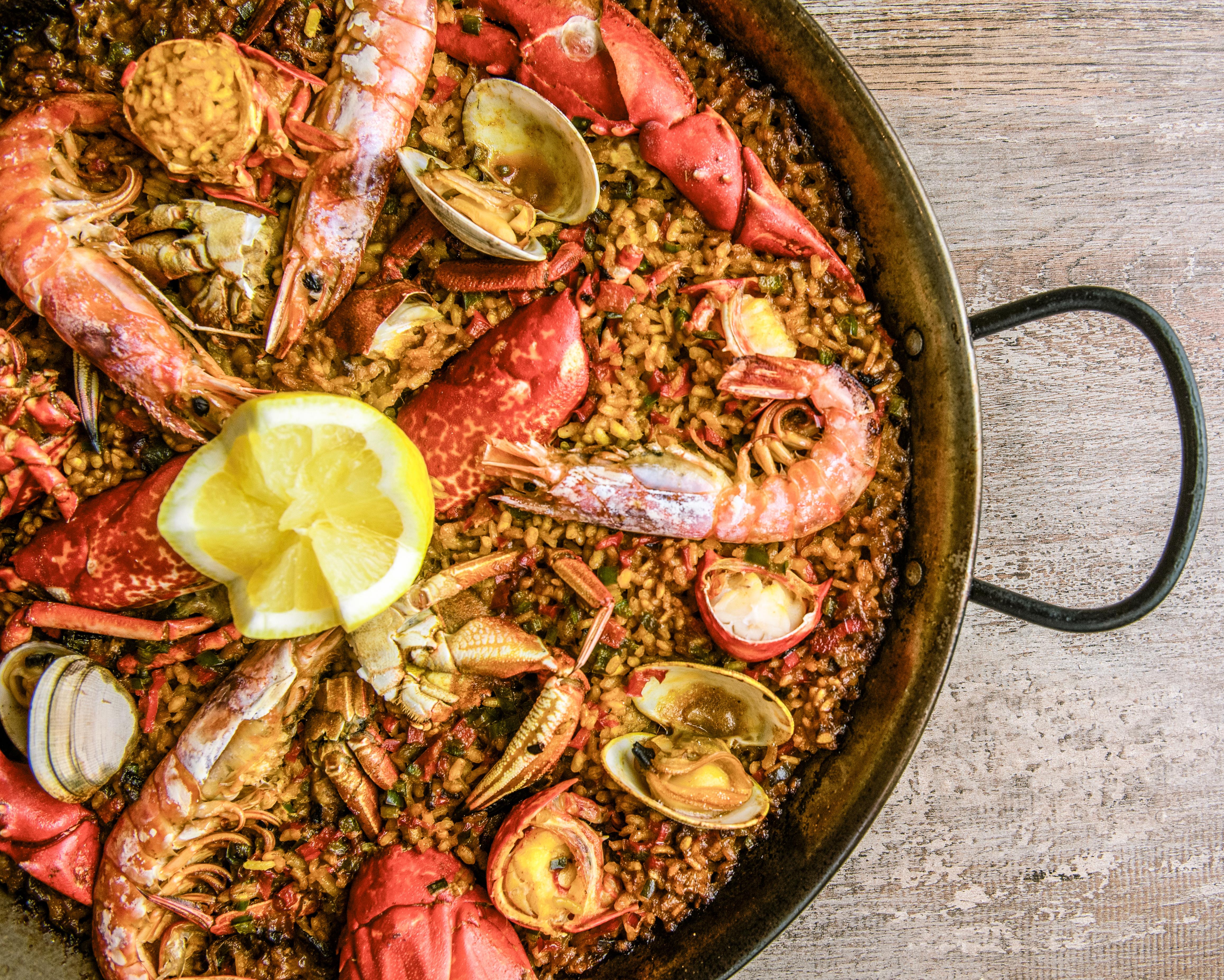 Receta Arroz Marisco Horno Restaurante Peces de Madera Afuegolento