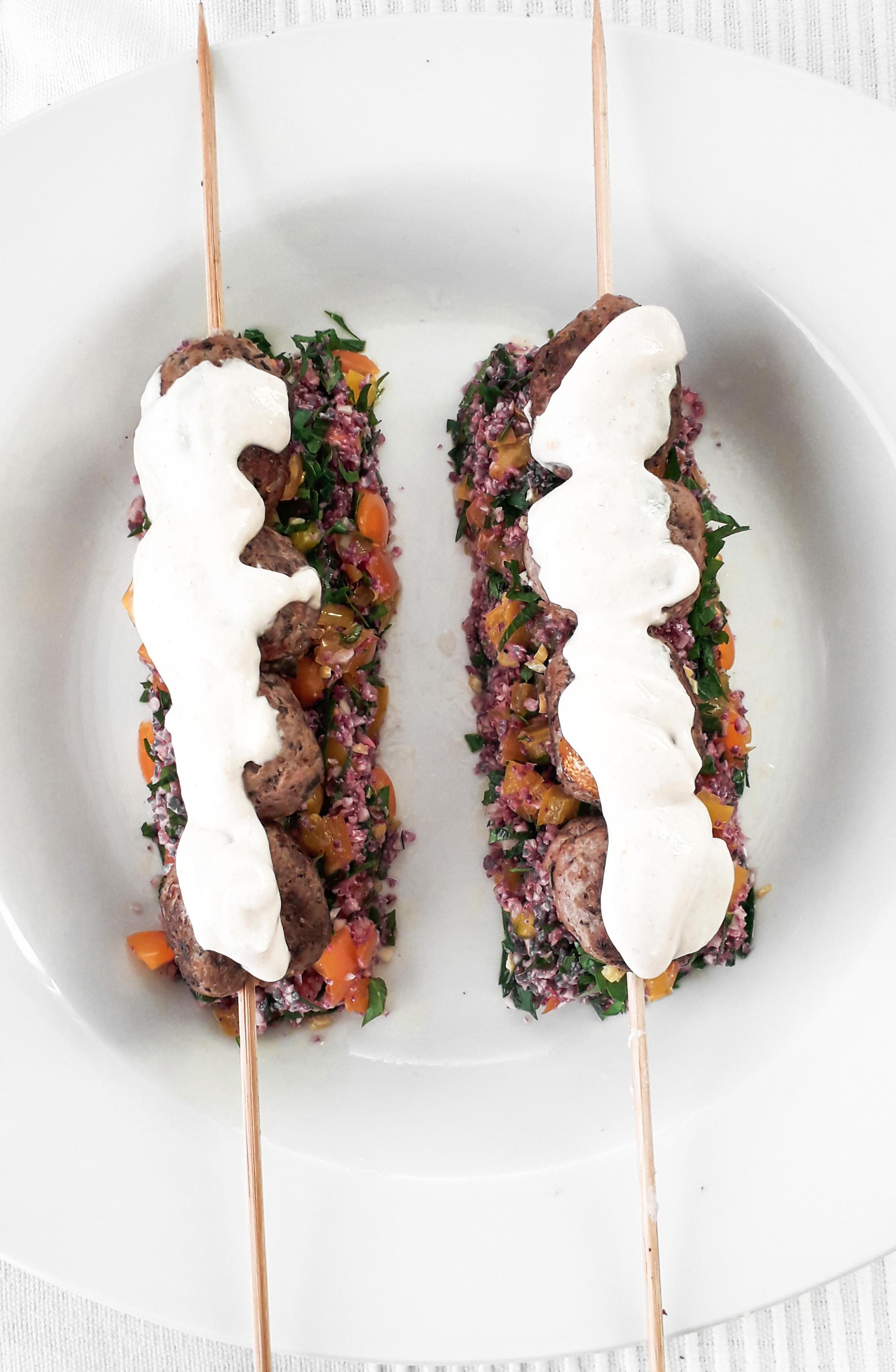 Receta Brocheta Albóndigas Shawarma Cuscus Coliflor Morada Afuegolento 1